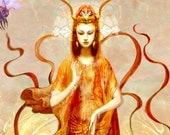 BEE PROSPERITY Fine Art Print, Goddess, Quan Yin, Honey Comb, Flowering Lily, Eco Nature Spirit, Mother