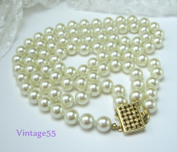 Vintage Necklace  Two Strand Glass Pearl