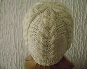 Hand Knitted  Cream Beanie Hat Blend Wool. Reduced Price
