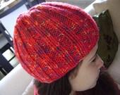 Hand Knit Beanie Hat. REDUCED PRICE.   Acrylic Yarn