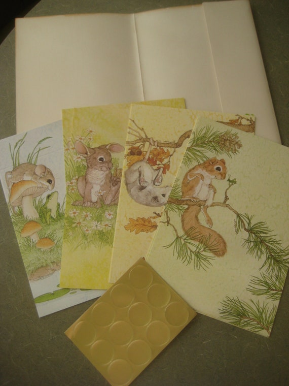 Vintage Stationery, Animals on Fold a Notes, Current Meadow Mischief Just a Note Assortment