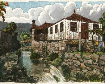 Riverside scene - Original art, small 7x5 landscape watercolor painting inspired in Portugal