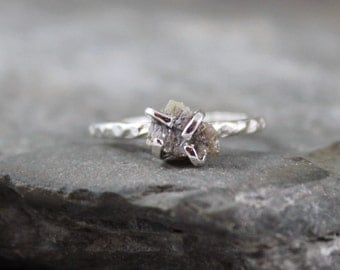 Raw Diamond Ring - Engagement Ring - Stacking Ring - Rough Uncut Diamond - Sterling Silver - April Birthstone - Rustic Jewellery