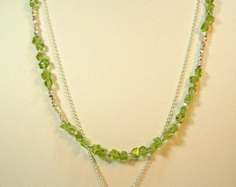 Peridot and Silver Leaf Necklace