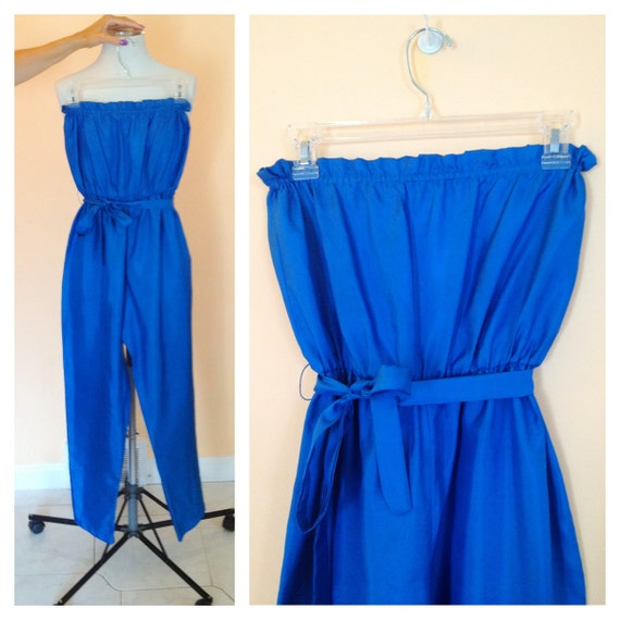 5 dollar SALE- Vintage Turquoise Strapless Jumpsuit. Rare. Size Small. Lady Gaga. Bold. Avant Garde. 1980s. One Piece. Teal. Blue.
