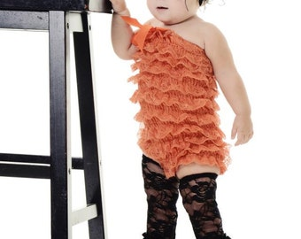 SALE Orange Lace Romper with Shoulder Straps and Bow   S, M, or L