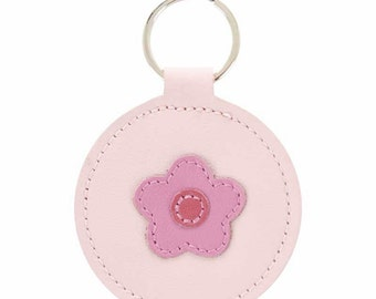 Mally Designs Real Leather Round Keychain Key Holder Ring - Pink Daisy Flower Design on Pink