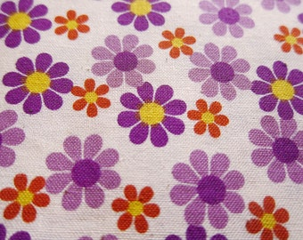 FREE SHIPPING Kawaii Daisies Fabric in Purple - Floral Cotton Fabric (F014) - Fat Quarter