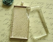 5 Sterling Silver Plated Rectangle Blank Pendant Tray with Matching Glass Cabochons 25x50mm (1x2 inches)