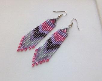 Pink, Wine and Amethyst Beaded Earrings
