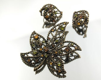 Leaves Rhinestone Brooch Set Peridot Citrine Colors Avon