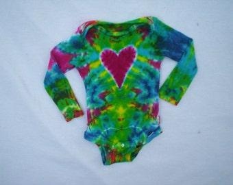 Tie Dye Heart Baby Long Sleeve Choose Size