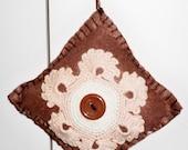 Felt Pincushion With Vintage Crocheted Decoration