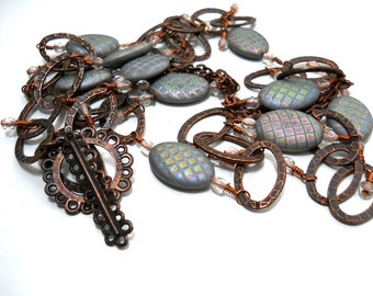 Copper and Glass Necklace, Checkerboard Patterned Czech Glass Ovals, Copper