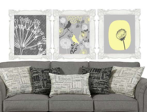 SALE Set of Yellow Gray Modern Art Prints 8 x 10 Plus Bonus Print