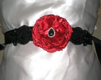 Bridal Sash, Wedding Sash, Bridal Belt, Gothic Bridal Sash, Sash, Black and Red Sash, Bridal Accessories, Belt