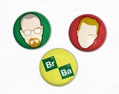 Breaking Bad Buttons 3 Illustrated pinback buttons
