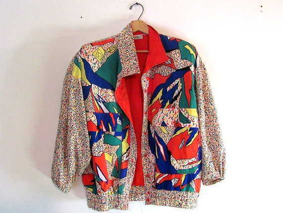 Vintage abstract print Jacket womens Size 10 / M