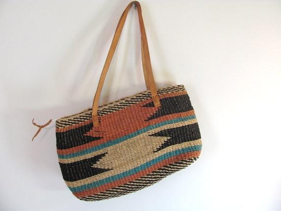 Vintage Woven Jute Ethnic Market Bag
