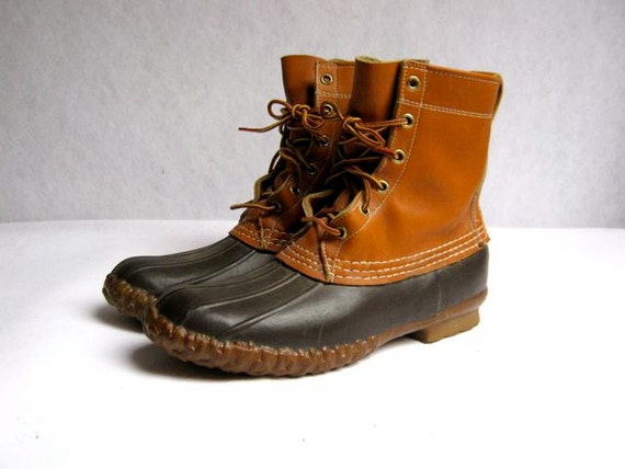 Vintage Ll Bean Tall Brown Duck Boots Mens Size 8 M