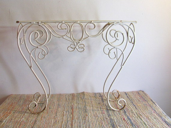 Vintage White Metal Plant Stand Wrought Iron Legs Chippy