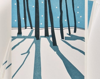 Letterpress Winter Holiday Christmas Silent Night - Holiday Cards - Set of 12