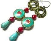 Tibetan Bead Earrings, Brass Earwires, and Components, Ethnic Earrings, Inlaid Turquoise and Coral, Turquoise Teardrop Beads