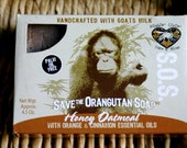Save the Orangutan Soap, Handcrafted Goats milk Honey Oatmeal Soap with Orange and Cinnamon essential oils