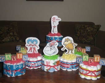 Dr Seuss Diaper Cakes Baby Shower Centerpieces other sizes available
