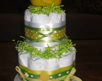 Yellow and Green Duck DIAPER CAKE baby shower centerpiece Other Toppers and sizes TOO