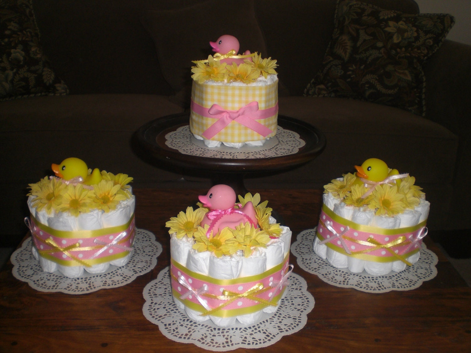 Pink And Yellow Diaper Cakes Babyshower Centerpieces Bundt