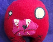 SALE Scary Plush Monster - Red Goth Bloody Halloween Plushie Toy