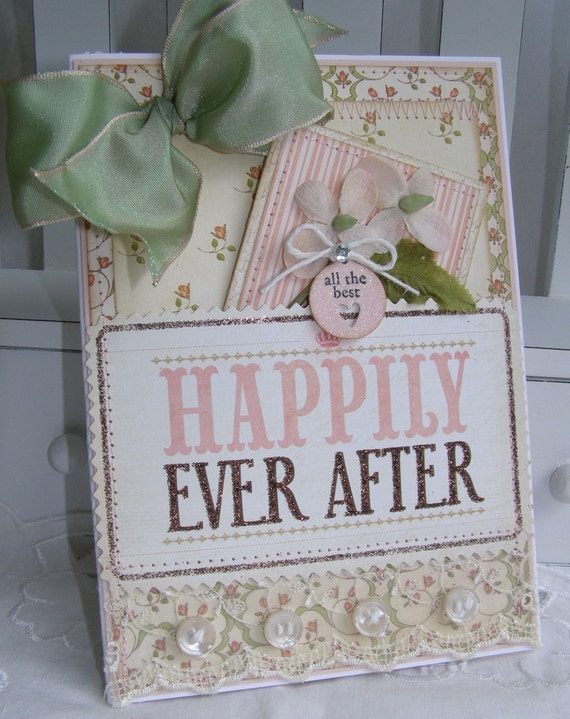Wedding Engagement Gift Card Pocket Shabby Chic Handmade Card
