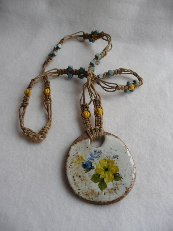 Hemp and Pottery Macrame Flower Necklace