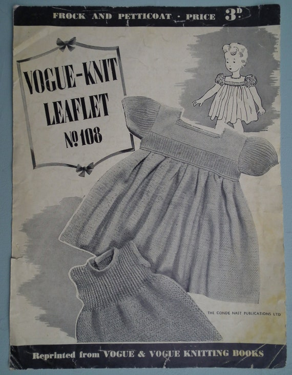 VOGUE Knitting Pattern Vintage 1940s Baby Dress Frock