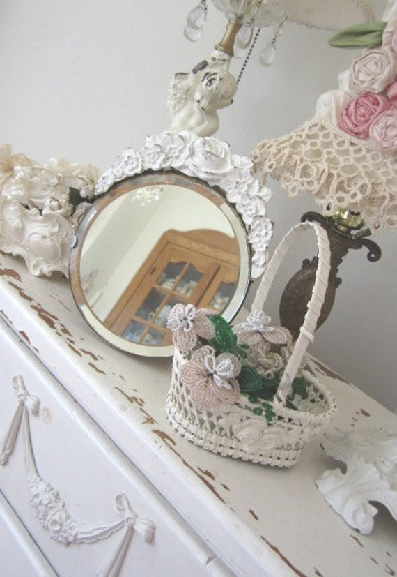 RESERVED TRINA - Antique Barbola Mirror - Vintage Roses - Beveled - Shabby French Cottage White