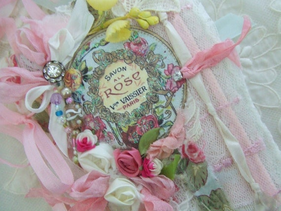 Shabby Rose Journal Vintage Perfume Label French Rose Lace  Journal
