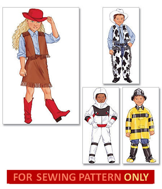 COSTUME SEWING PATTERN - Cowboy / Cowgirl / Astronaut / Firefighter - Fits Child 2 to 8 Years