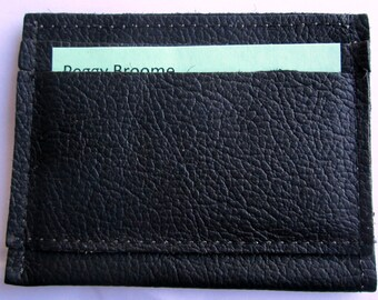 Small Black Leather Wallet  Holds Folded Money and Cards