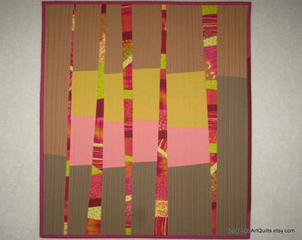 "Abstract Modern Quilt - Strips, Stripes and Tiny Pieces - 19.5"" x 22"""