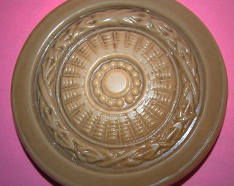 Vintage Huge Victorian Tan Molded Celluoid 61mm Button M1L