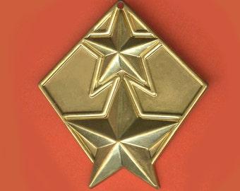 Vintage 3 Brass Art Deco Star Charm Pendants 33X37mm  H1R