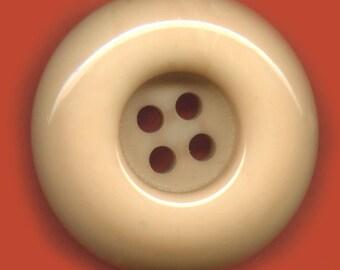 Vintage Large Chunky Tan Shiny Button 33mm  GR3