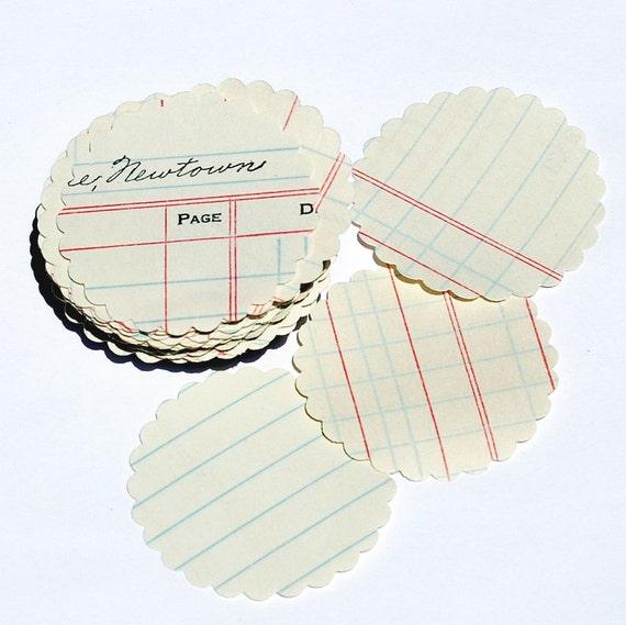 ledger paper circles- scalloped paper circles vintage craft supplies