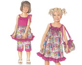 Girls Daisy Kingdom Dress Pattern - Girls Top Sewing Patterns - Simplicity 2433 - Uncut, Factory Folds