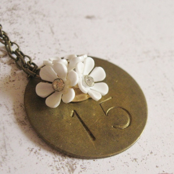 Antique Brass Tag White Daisy Rhinestone Necklace, Pentatope, Vintage Hardware 15, FREE SHIPPING by Maddie Lisee