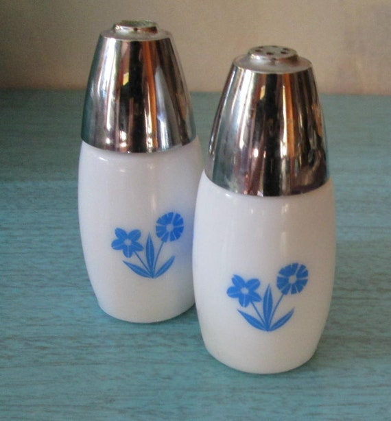 Vintage Milk Glass Salt and Pepper Shakers White and Blue Cornflower
