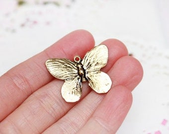 FREE SHIPPING! 1x Pendant - Lady Butterfly Antique Gold - Jewelry Supply