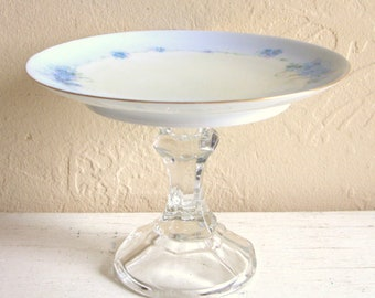 Light Blue and White Small Pedestal Dish with Clear Glass Base