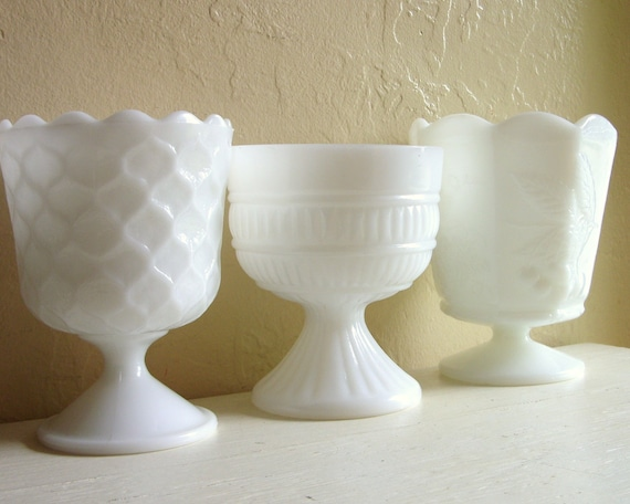 Trio of Milk Glass Compotes Pedestal Bowls